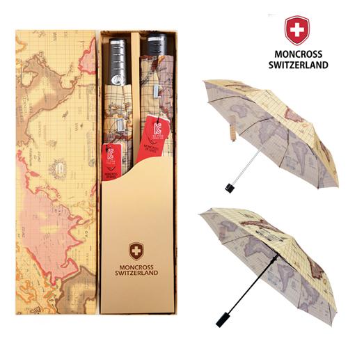 몽크로스 2,3단 고지도 패턴 우산 세트