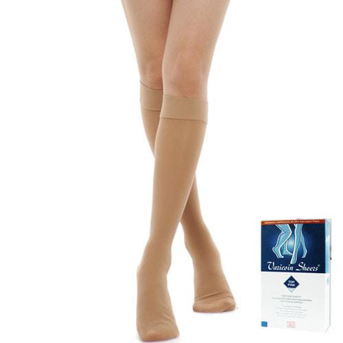 [바리코인3010]압박스타킹 무릎형(발막힘) 반불투명 Top Fine고급형재질(20-30mmHg) 연커피색