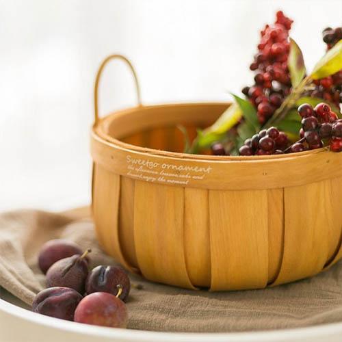 손잡이 대나무 과일 피크닉 바구니 대형