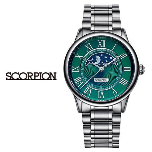 스콜피온 남성 메탈 손목시계 (D버클 가죽밴드 적용모델) SP3323M-GN