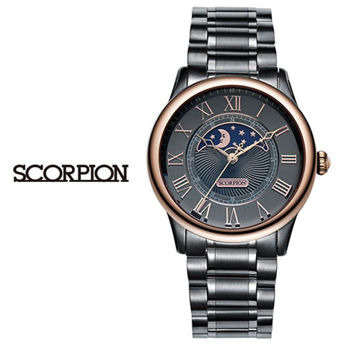 스콜피온 남성 메탈 손목시계 (D버클 가죽밴드 적용모델) SP3323M-GRG