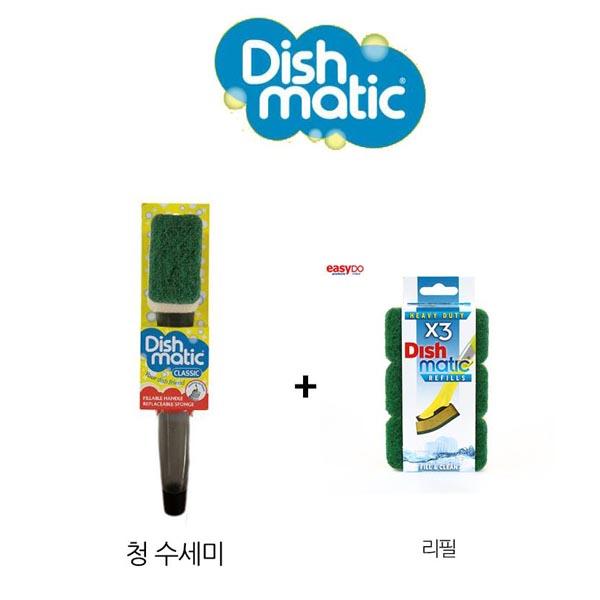 Dishmatic 스폰지수세미 수세미+리필3개