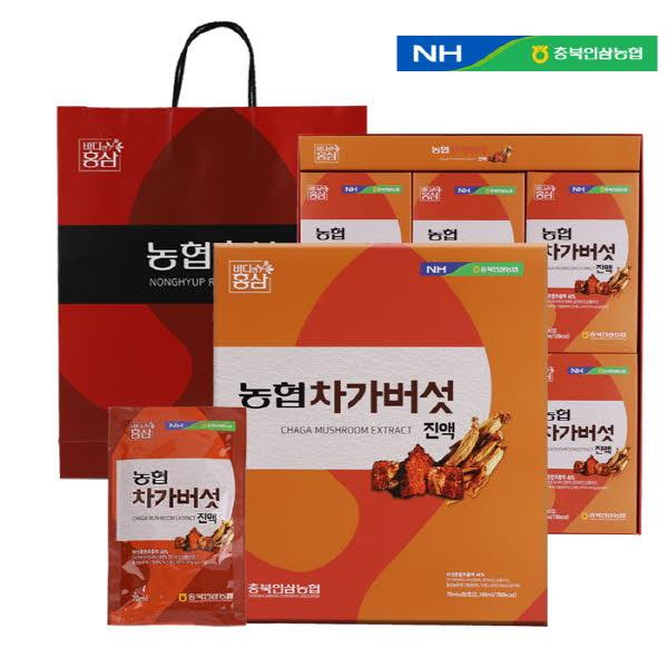충북인삼농협 차가버섯진액 (70ml X 30포) / 고급쇼핑백포함