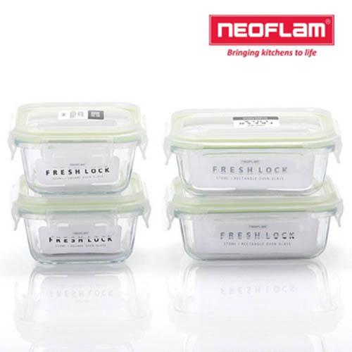 네오플램 프레시락 내열유리 밀폐용기 4종세트 (정사각300ml 2ea+직사각300ml 2ea)