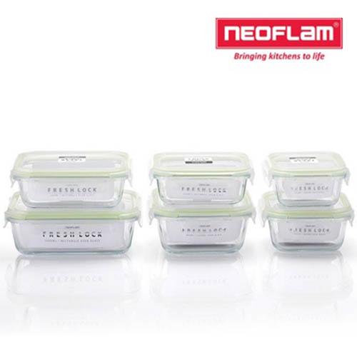 네오플램 프레시락 내열유리 밀폐용기 6종세트 (정사각 300ml,500ml,800ml/직사각 300ml, 600ml, 1000ml 각1ea)