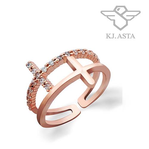 케이제이아스타 두줄십자가 프리사이즈 로즈골드 반지 KJR0445