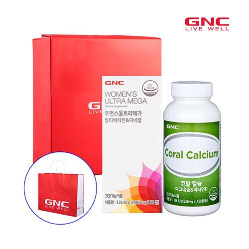 GNC 여성뼈건강세트(우먼스울트라메가 90정 90일분 * 코랄칼슘 마그네슘 비타민D 120캡슐 60일분)