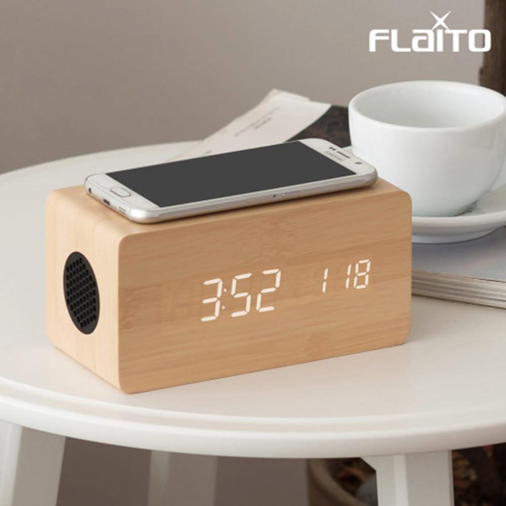플라이토 우드 3in1 무선충전 블루투스 스피커 LED 탁상시계