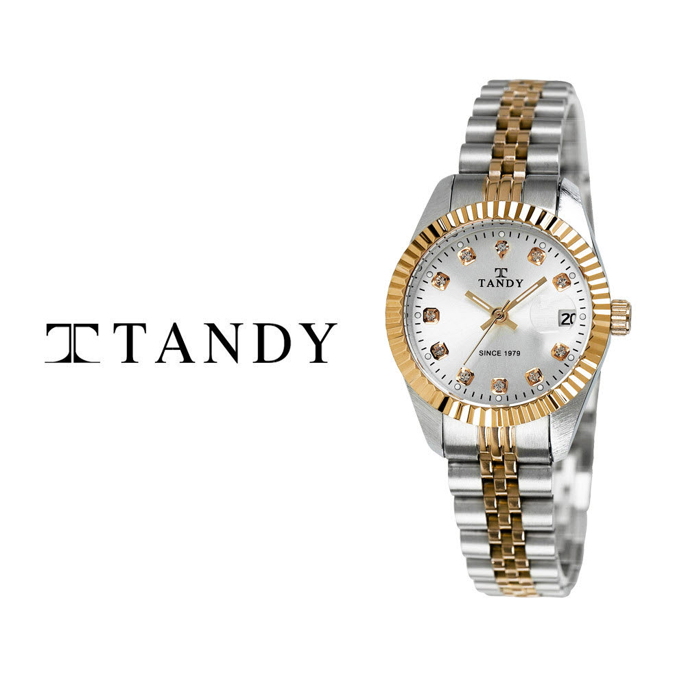 [TANDY] 탠디 럭셔리 커플 메탈 손목시계(스와로브스키 식입) T-3909 여자 골드콤비