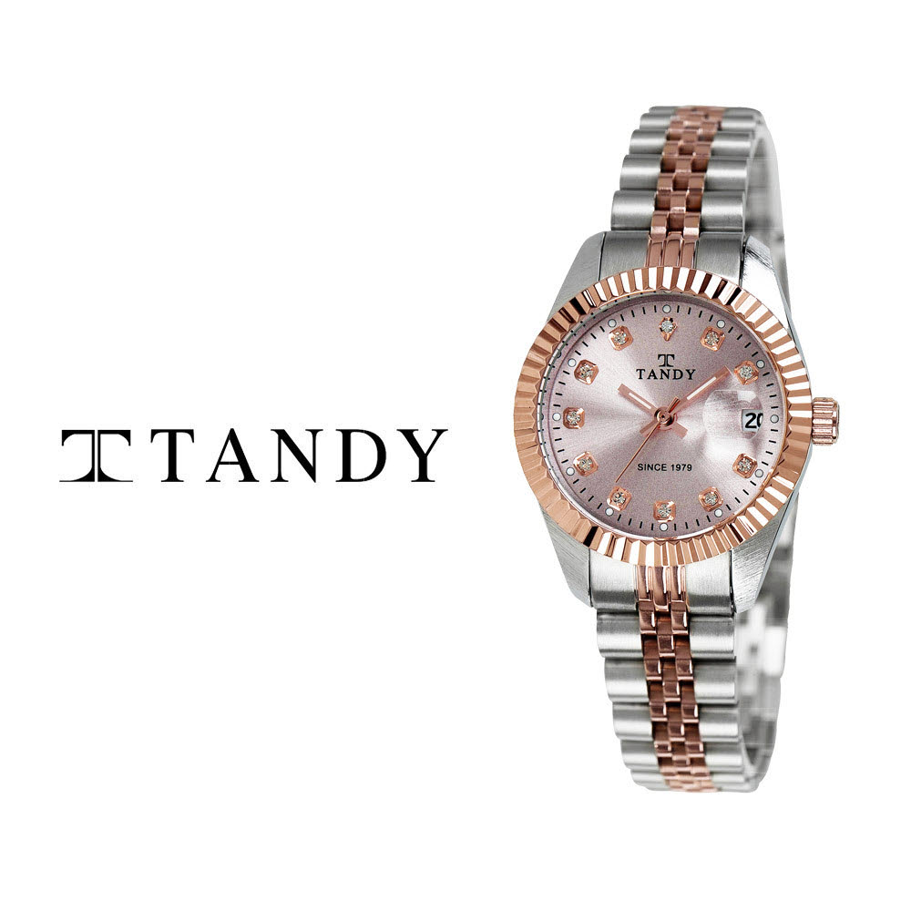 [TANDY] 탠디 럭셔리 커플 메탈 손목시계(스와로브스키 식입) T-3909 여자 로즈골드콤비