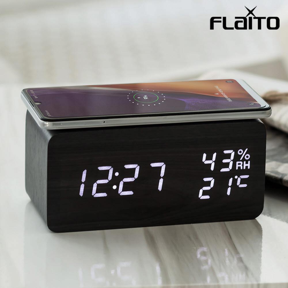 플라이토 우드 무선충전 온습도 LED 탁상시계 블랙