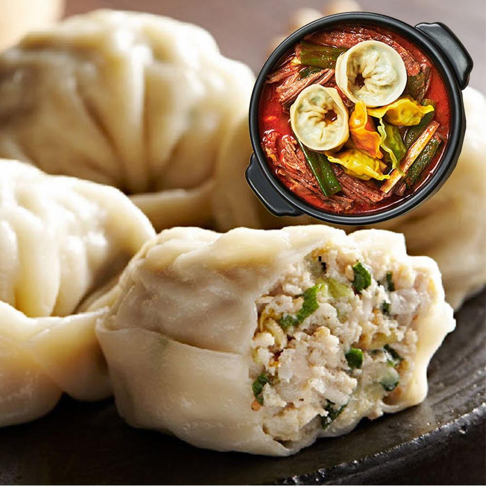 한만두 육즙가득한 왕만두 1,200g(2봉) + 한만두 소고기 파육개장 650g(1봉)