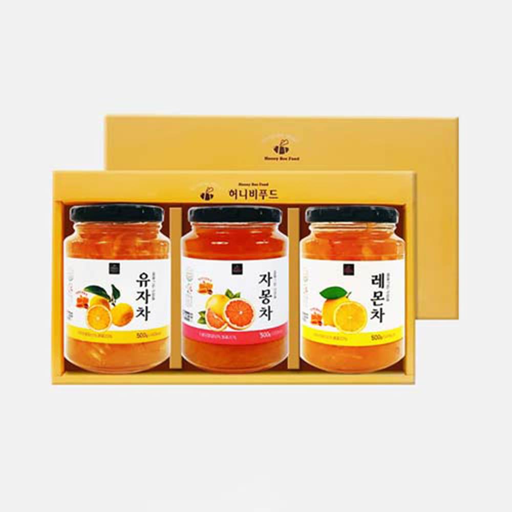 [허니비푸드] 꿀을 그린사람들 과일차 3종세트_유자차500g+자몽차500g+레몬차500g