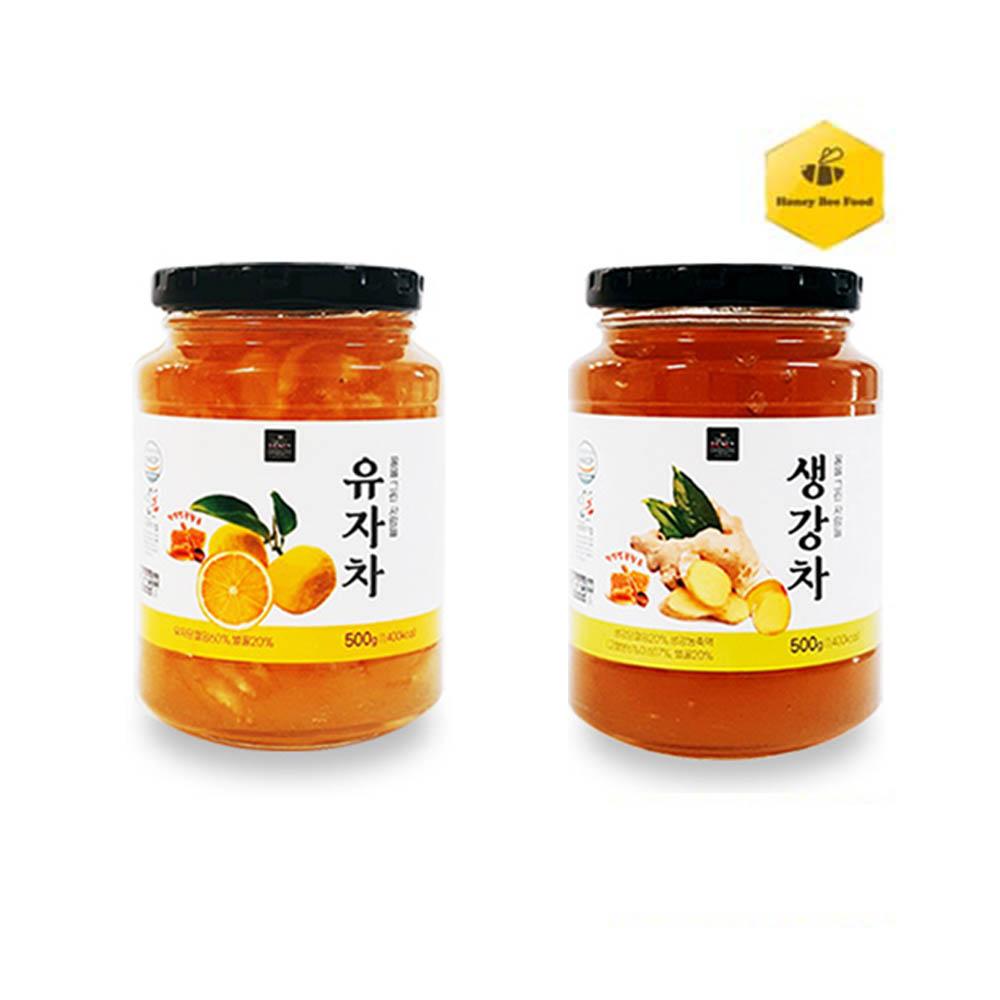 [허니비푸드] 꿀을 그린사람들 건강차 2종 A세트_유자차500g+생강차500g