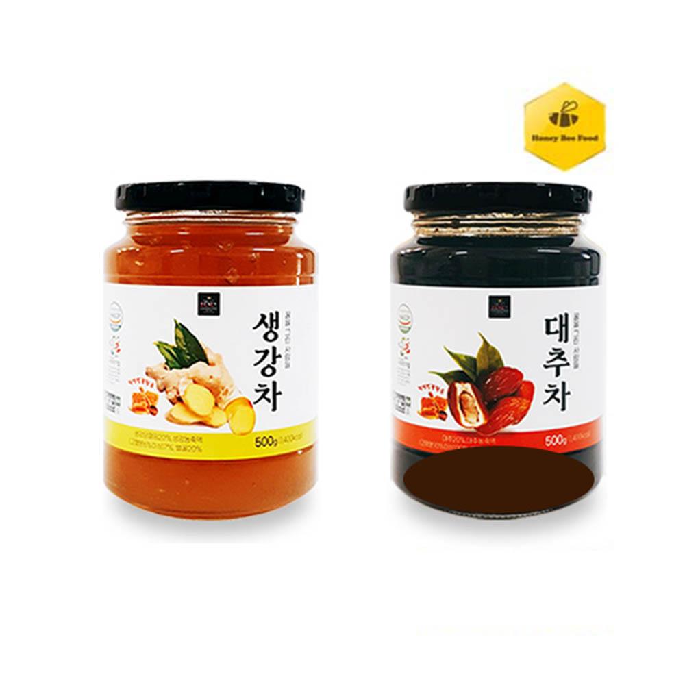 [허니비푸드] 꿀을 그린사람들 건강차 2종 E세트_대추차500g+생강차500g