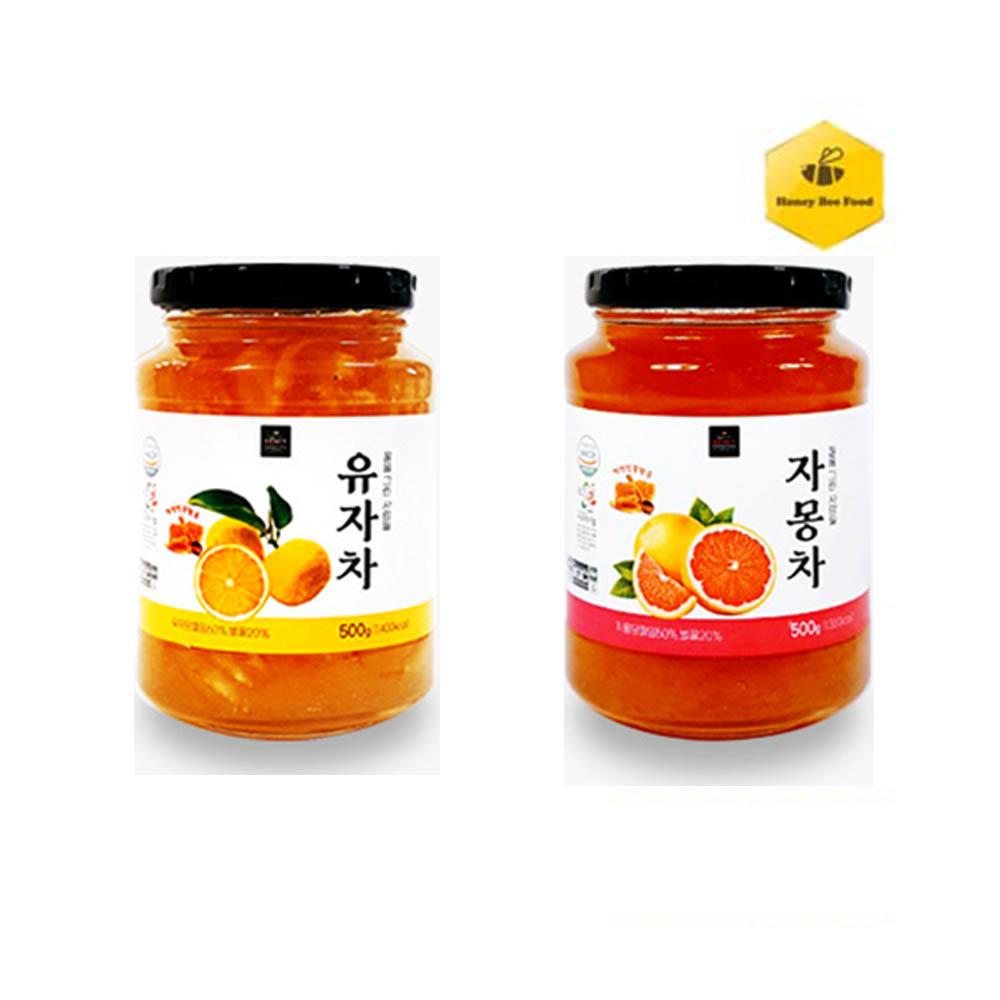 [허니비푸드] 꿀을 그린사람들 과일차 2종 B세트_유자차500g+자몽차500g