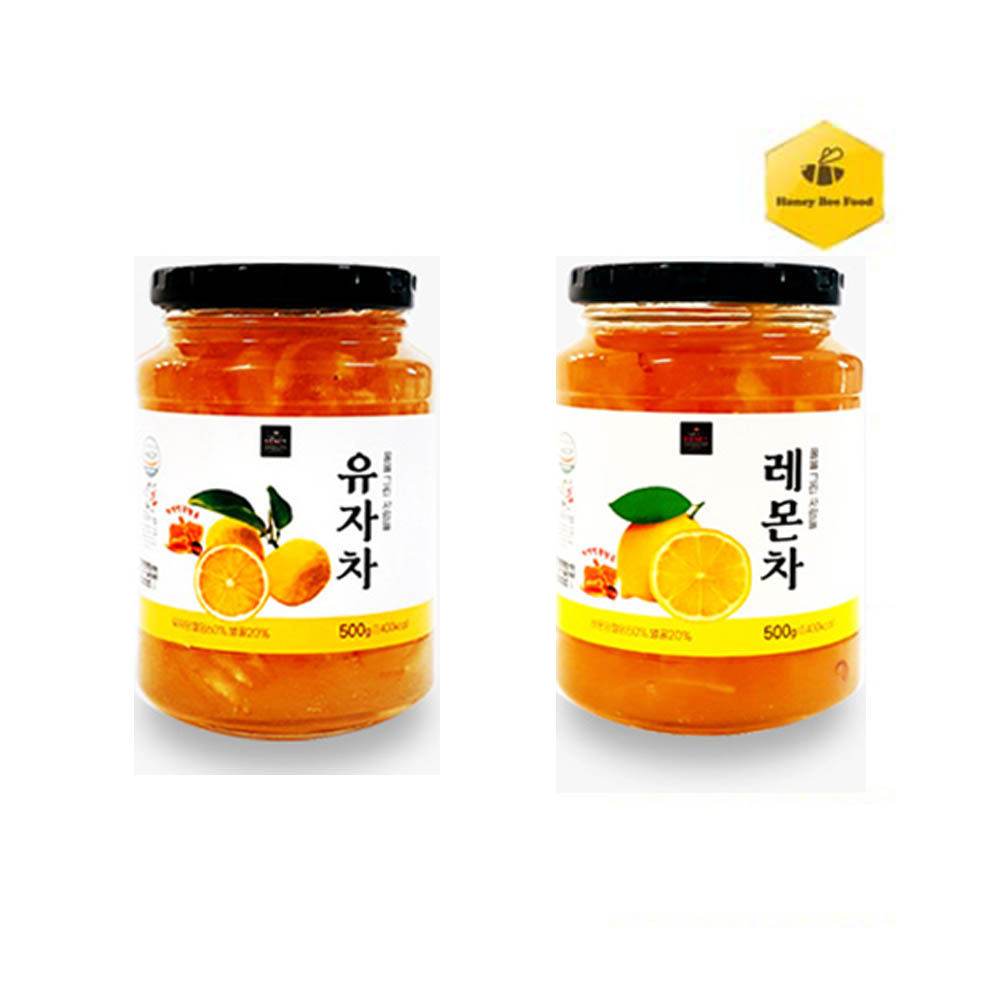[허니비푸드] 꿀을 그린사람들 과일차 2종 C세트_유자차500g+레몬차500g