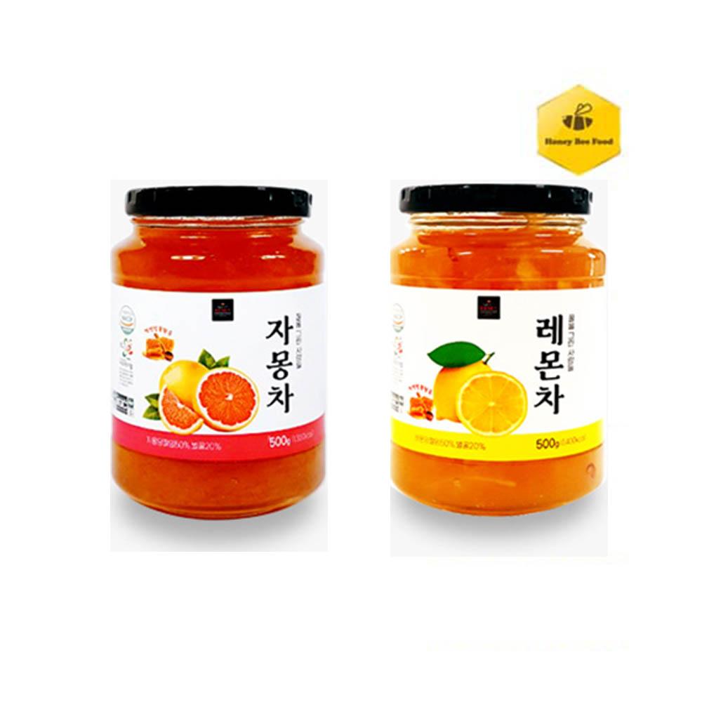 [허니비푸드] 꿀을 그린사람들 과일차 2종 E세트_자몽차500g+레몬차500g