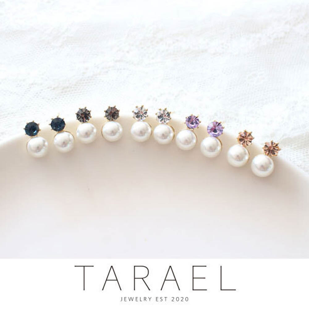 [타라엘] 큐빅 진주 귀걸이 (하드케이스포장)