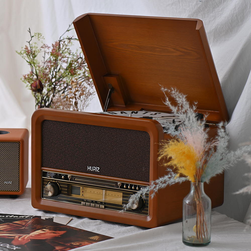 휴라이즈 올인원 Sound System (턴테이블+CD+블루투스+라디오+AUX+USB+무선리모컨) HR-TS200