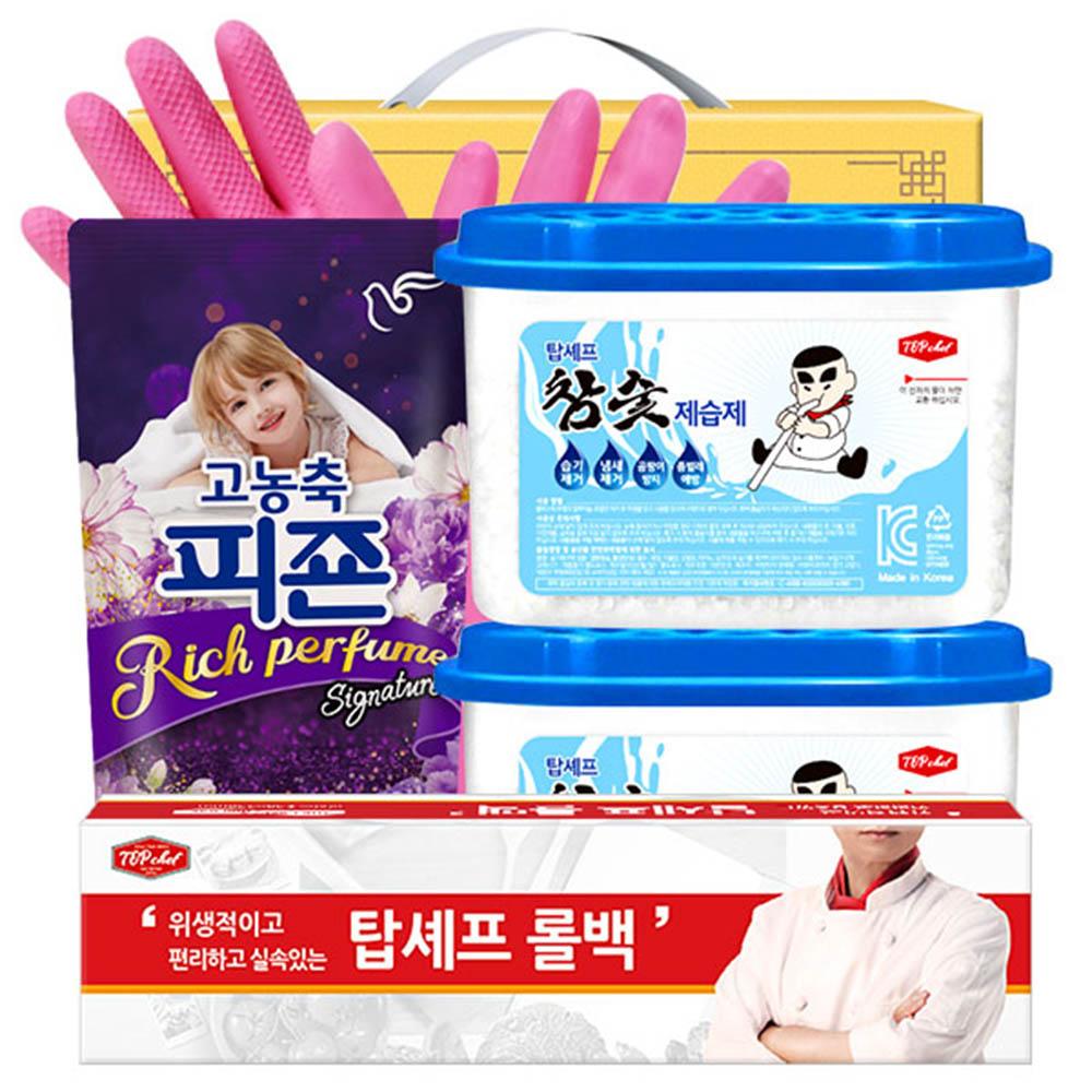 피죤 롤백100매 비닐고무장갑32cm 참숯제습제2P(5종)