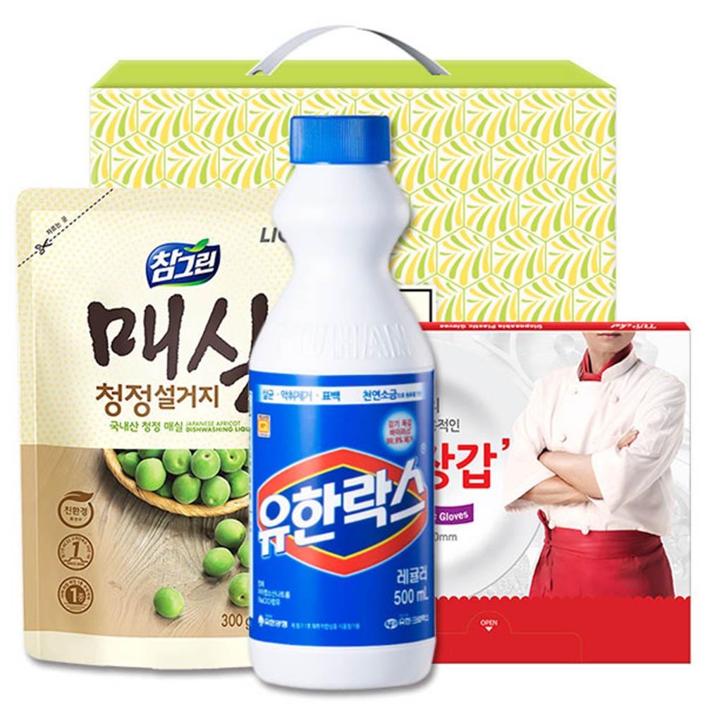 (친환경)참그린매실300리필 유한락스 정사각위생장갑(3종)