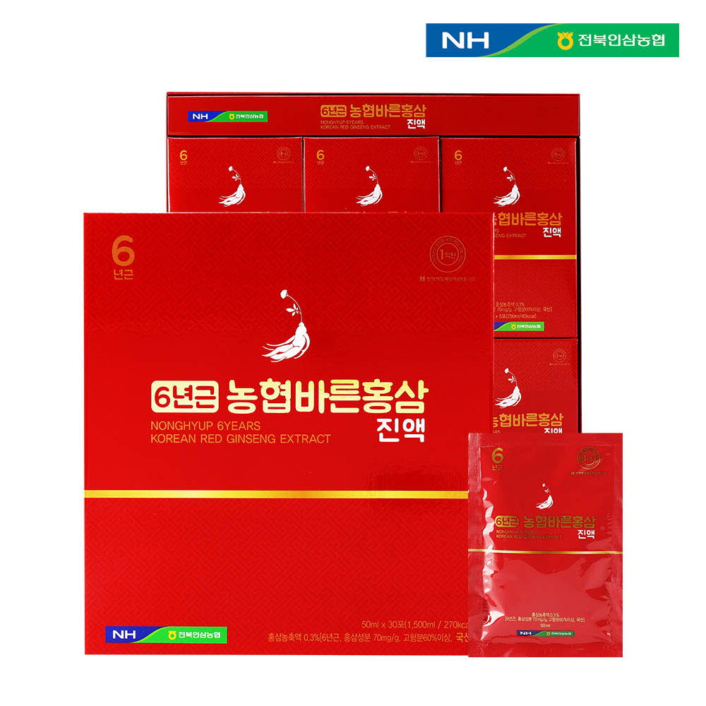 전북인삼농협 6년근농협바른홍삼진액 50ml x 30포 (쇼팽백포함)