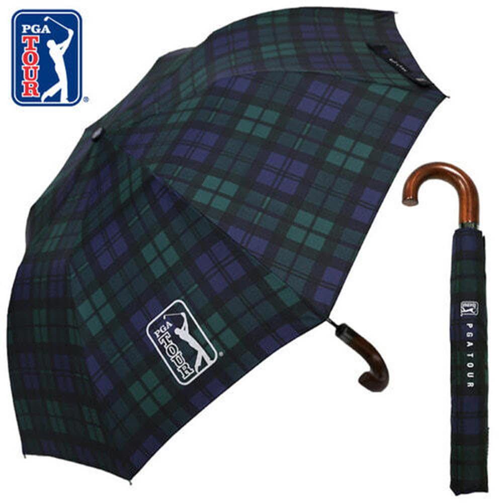 PGA 2단자동 글렌체크우드 우산