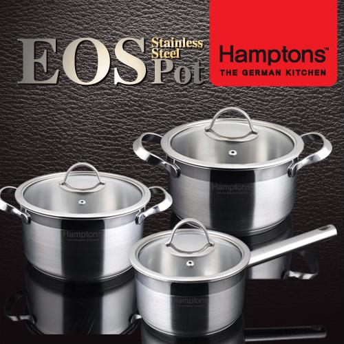[Hamptons]독일 햄튼 EOS 인덕션 3중 바닥 냄비3종세트(편수16cm+양수 18cm+양수20cm)